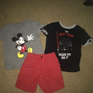 Gymboree top and shorts with a bonus Disney top